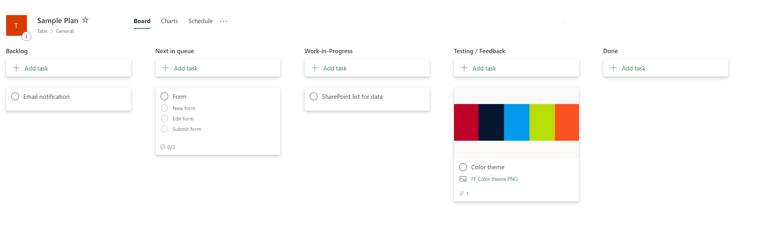 Sample of Planner buckets, containing backlog, next in queue, work in progress, feedback and done.